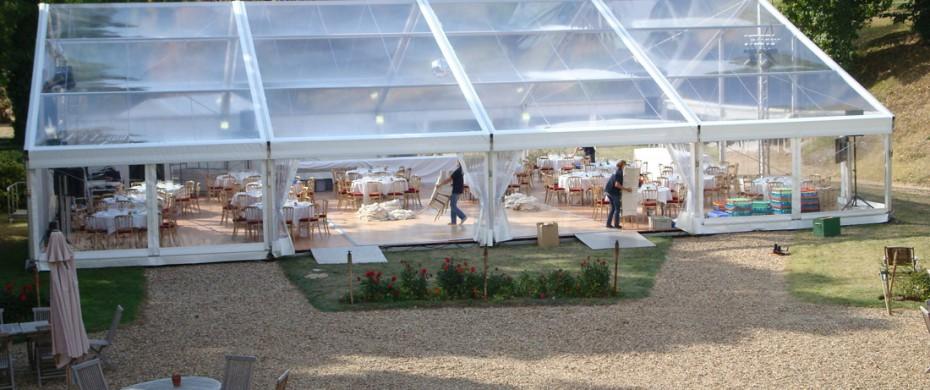 Mariage, structure de 15mx20m full cristal, 200 personnes